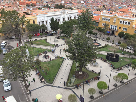 The Plaza de 10 Noviembre, as seen from the bell tower on top of the Catedral Metropolitana del Apóstol Santiago in Potosi, Bolivia.