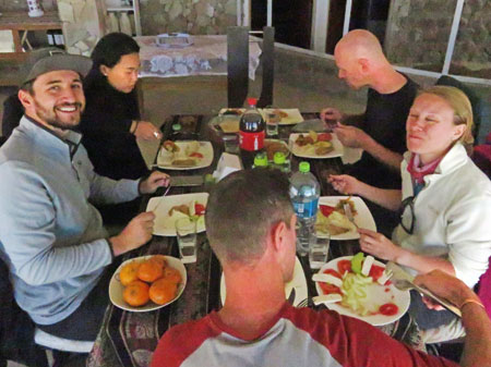 Lunch time at a hostel near Polques Aguas Terminales in the Reserva Nacional de Fauna Andina Eduardo Avaroa, Bolivia. Clockwise from top right: Scott, Cat, Donal, Sam and Ting Ting.