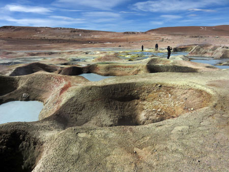 Beautiful craters at the Geyser Sol de Manana in the Reserva Nacional de Fauna Andina Eduardo Avaroa, Bolivia.