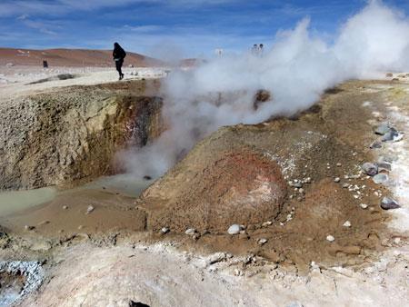 Steam belches from the main vent at the Geyser Sol de Manana in the Reserva Nacional de Fauna Andina Eduardo Avaroa, Bolivia.