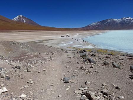 The landscape around Laguna Blanca in the Reserva Nacional de Fauna Andina Eduardo Avaroa, Bolivia.