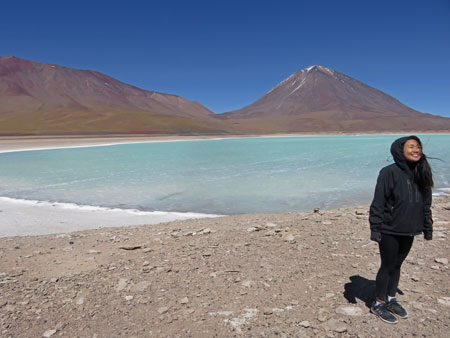 Ting Ting enjoys visiting Laguna Verde in the Reserva Nacional de Fauna Andina Eduardo Avaroa, Bolivia.