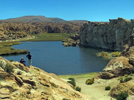 The beautiful Laguna Catal in the Reserva Nacional de Fauna Andina Eduardo Avaroa, Bolivia.