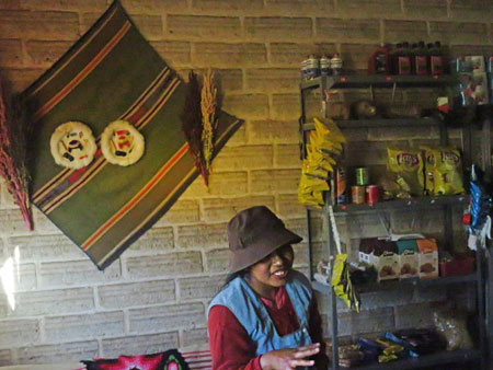 A young lady who works in a small cafe / shop in Julaca, Bolivia.