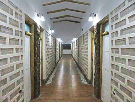 A hallway at the brand new salt hotel owned by the tour operator Cruz Andina near the Salar de Uyuni, Bolivia.