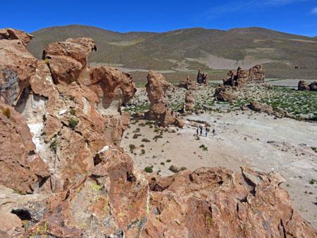 A shot from the top of a rock formation at the Valle de Rocas in the Reserva Nacional de Fauna Andina Eduardo Avaroa, Bolivia.