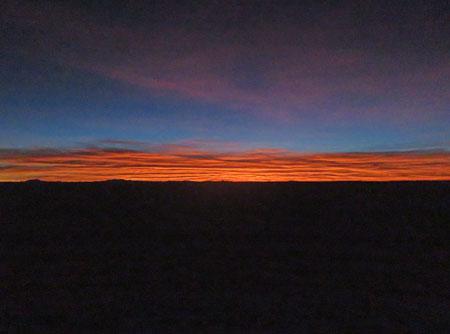 The pre-dawn horizon on the Salar de Uyuni, Bolivia.