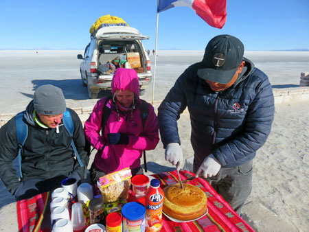 Cake for breakfast? Left to right: Donal, Cat and Magic Mike in front of Isla Incahuasi on the Salar de Uyuni, Bolivia.