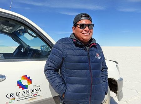 The Cruz Andina tour guide Magic Mike on the Salar de Uyuni, Bolivia.