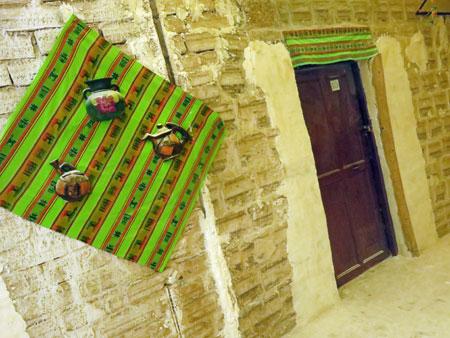 The interior of an old salt hostel on the Salar de Uyuni, Bolivia.
