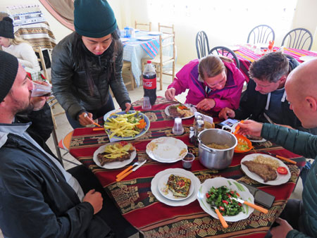 Left to right: Sam, Ting Ting, Cat, Donal and Scott enjoy the last lunch at a small restaurant in Uyuni, Bolivia.