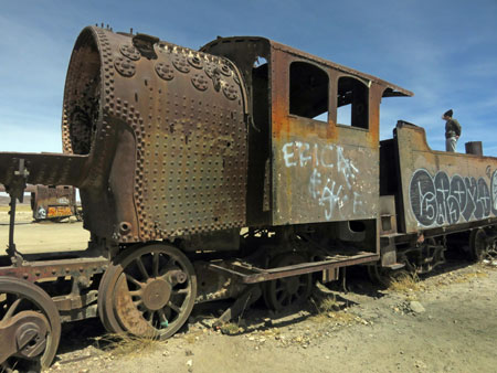 Rust and dust abound at the train cemetary in Uyuni, Bolivia.