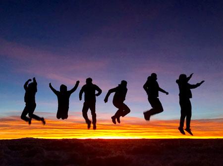 Jump for joy on the Salar de Uyuni, Bolivia.