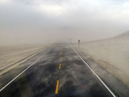 A sand storm on the road from Uyuni to Potosi, Bolivia.