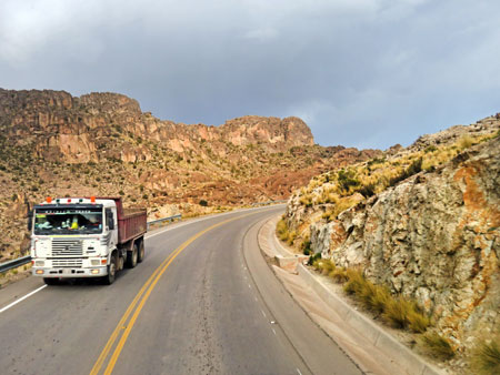 Trucking on down the road from Uyuni to Potosi, Bolivia.