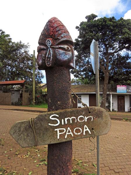 A street sign in Hanga Roa, Rapa Nui, Chile.
