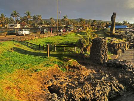 A Moai called Ahu Tautira presides over Hanga Roa harbor in Hanga Roa, Rapa Nui, Chile.