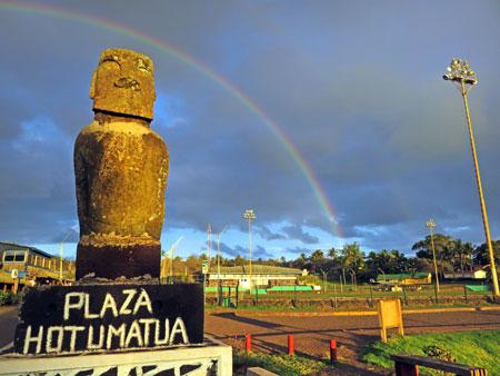 It's rainbow time in Hanga Roa, Rapa Nui, Chile.