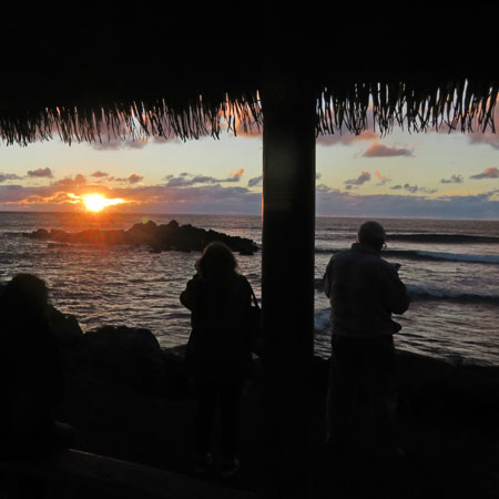 Sunset in Hanga Roa, Rapa Nui, Chile.