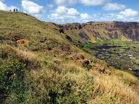 A wall of the Rano Kau volcano crater near Hanga Roa, Rapa Nui, Chile.