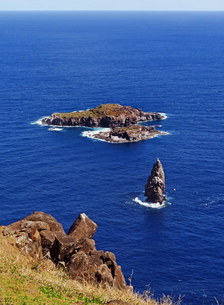 Three islets off the coast of the Rano Kau volcano crater near Hanga Roa, Rapa Nui, Chile.