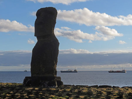 A Moai called Ahu Ko Te Riku on Rapa Nui, Chile.