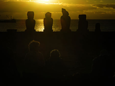 Sunset at Ahu Tahai, Rapa Nui, Chile.