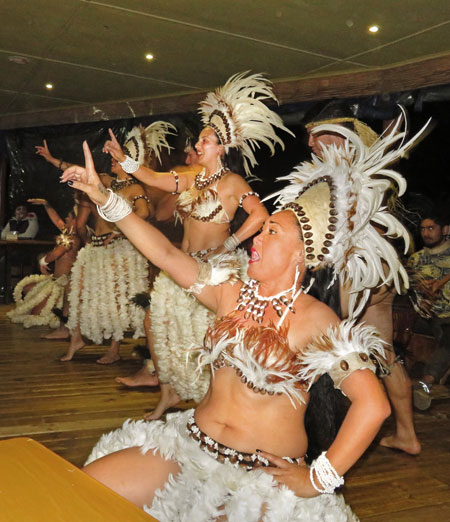 Dancers perform during the Puku Rangi Tea show at Pea Resto Bar in Hanga Roa, Rapa Nui, Chile.