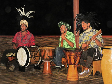 Musicians perform during the Puku Rangi Tea show at Pea Resto Bar in Hanga Roa, Rapa Nui, Chile.