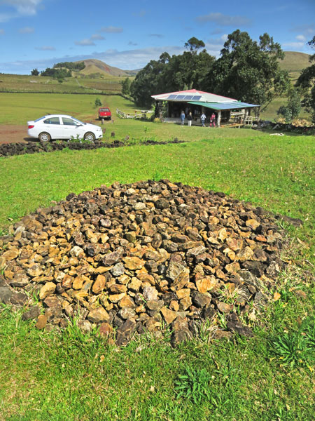 An art installation, or just a pile of rocks? Ahu Akivi, Rapa Nui, Chile.