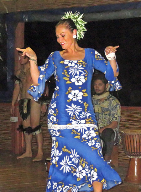 A dancer performs during the Puku Rangi Tea show at Pea Resto Bar in Hanga Roa, Rapa Nui, Chile.