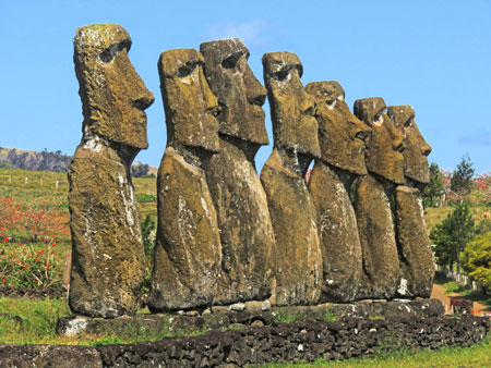 A set of seven Moai at Aku Akivi, Rapa Nui, Chile.