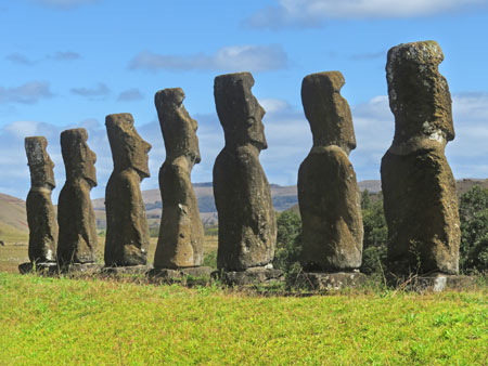 A set of seven Moai (take two) at Aku Akivi, Rapa Nui, Chile.