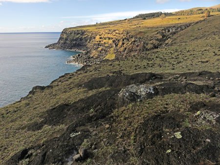 The cliffs at Ana Te Pau, Rapa Nui, Chile.
