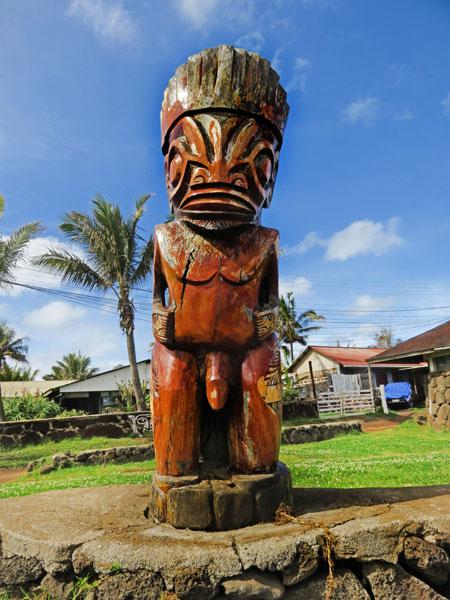 A phallic tiki in Hanga Roa, Rapa Nui, Chile.