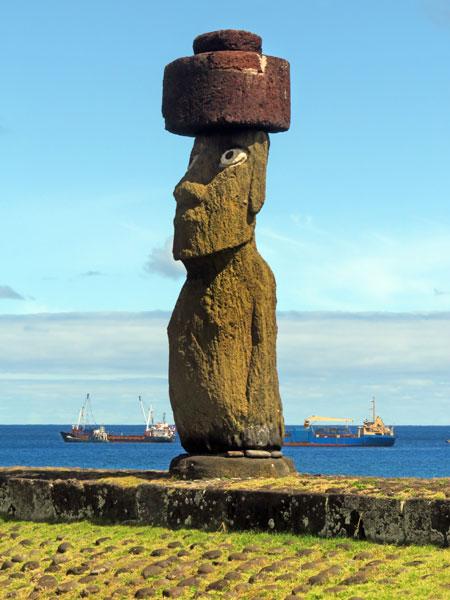A Moai at Ahu Ko Te Riku in Hanga Roa, Rapa Nui, Chile.