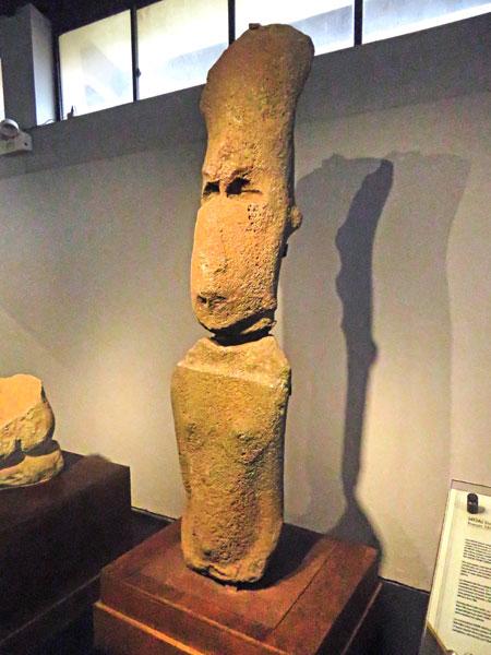 A rare female Rapa Nui statue at the Museo Rapa Nui in Hanga Roa, Rapa Nui, Chile.