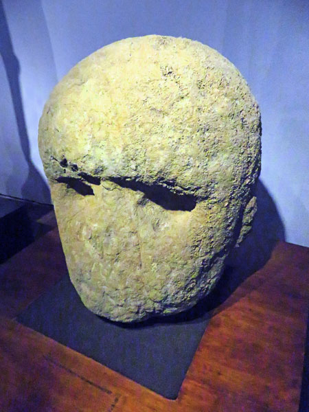 A large stone head at the Museo Rapa Nui in Hanga Roa, Rapa Nui, Chile.