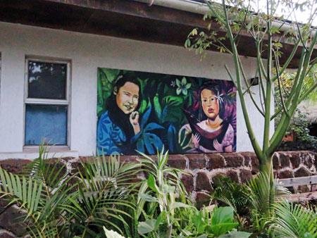 A mural on a house in Hanga Roa, Rapa Nui, Chile.