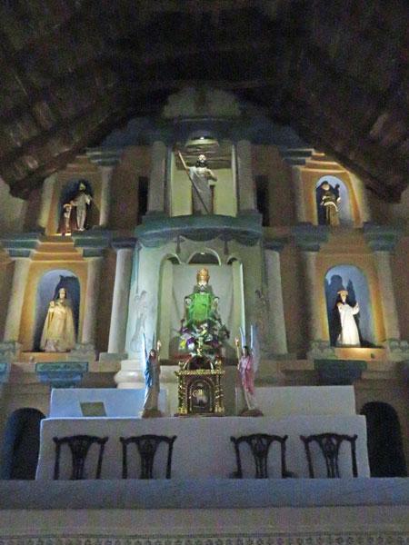 The pulpit in the Iglesia San Pedro in San Pedro de Atacama, Chile.