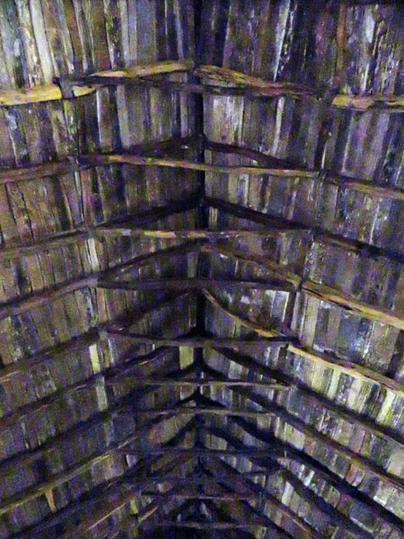 The rustic ceiling in the Iglesia San Pedro in San Pedro de Atacama, Chile.