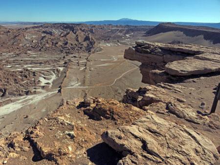 An overhanging rock in the Valle de la Luna near San Pedro de Atacama, Chile.