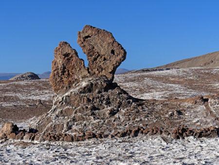 The Pac Man rock in the Valle de la Luna near San Pedro de Atacama, Chile.