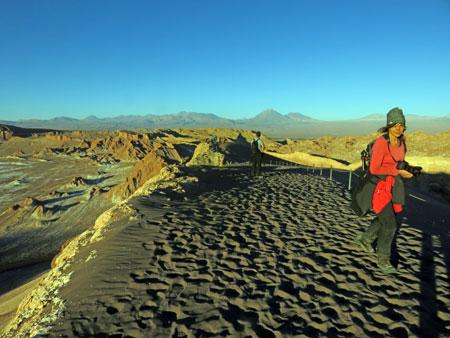 On top of the sunset viewing ridge in the Valle de la Luna near San Pedro de Atacama, Chile.