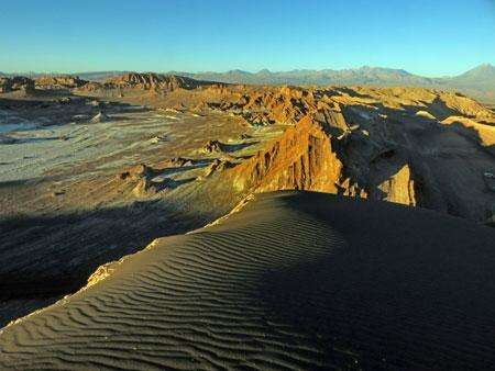 Looking north off of the sunset viewing ridge in the Valle de la Luna near San Pedro de Atacama, Chile.