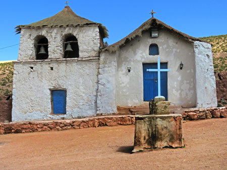 A tiny church in the village of Machuca in the Andes Mountains, Chile.