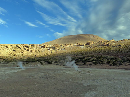 Sunrise at El Tatio geyser field, Andes Mountains, Chile.