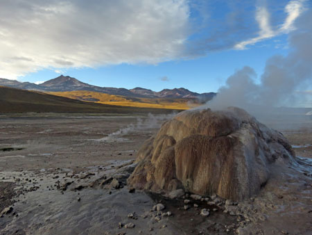 A geyser cone at El Tatio geyser field, Andes Mountains, Chile.