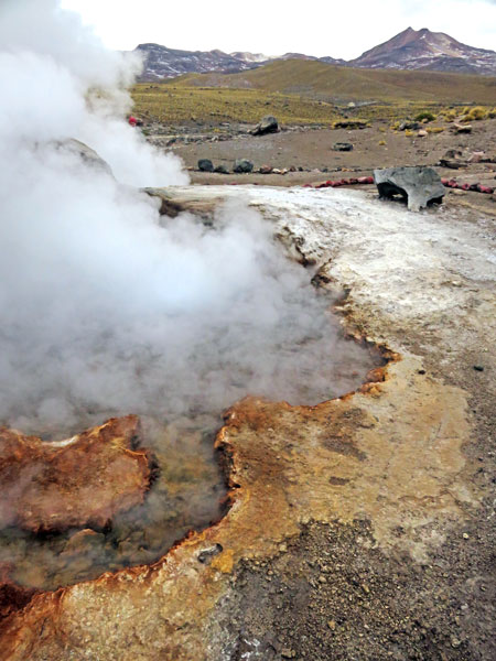 Another geothermal pool at El Tatio geyser field, Andes Mountains, Chile.