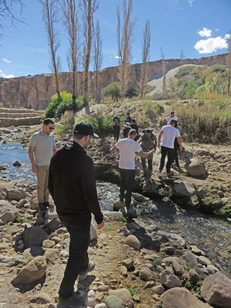 Crossing a creek in the Jerez Valley, Chile.